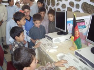 kids around computer