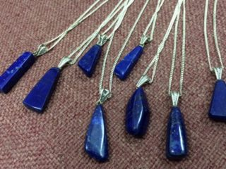 pendants, irregular lapis